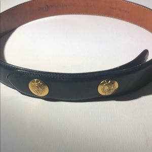 Polo Ralph Lauren-Navy blue belt with gold accents